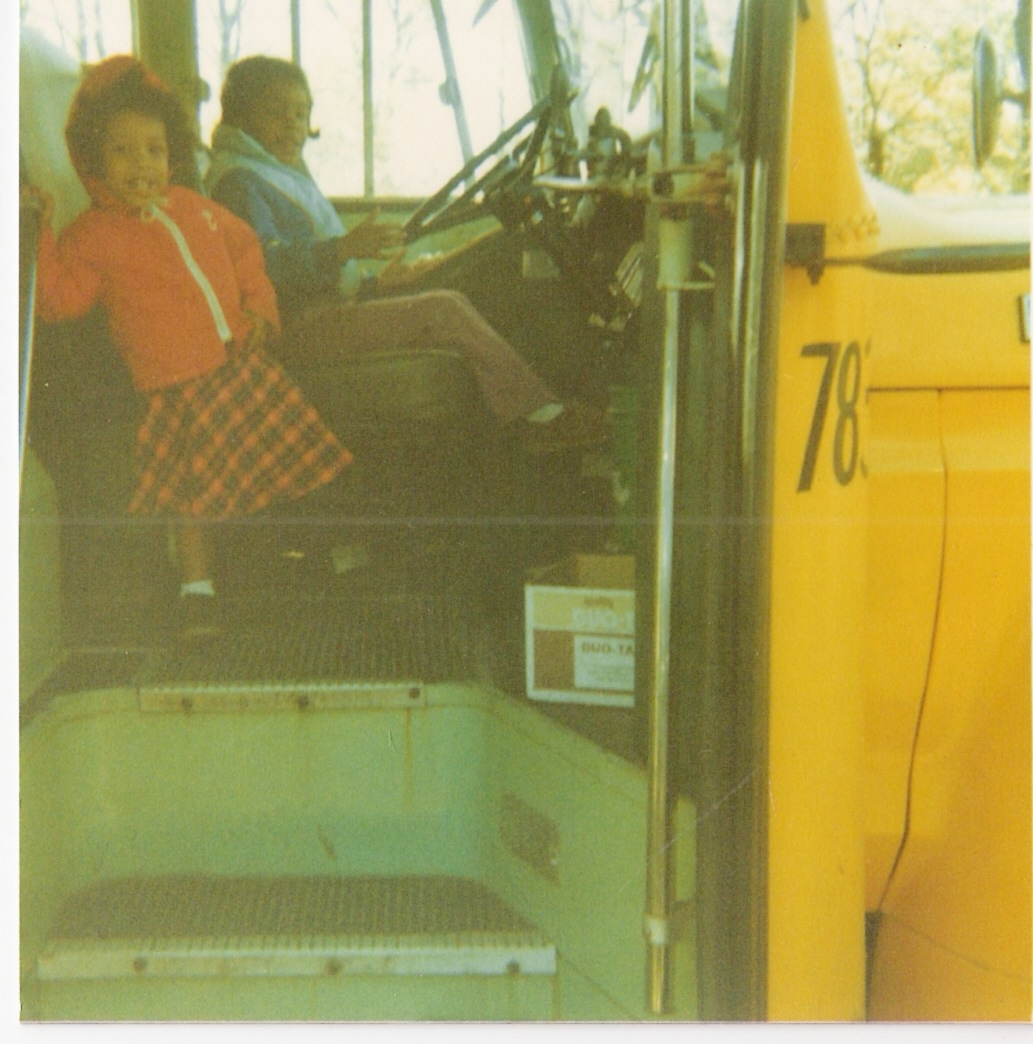 My cousin (at the wheel) and me on my grandmother's bus