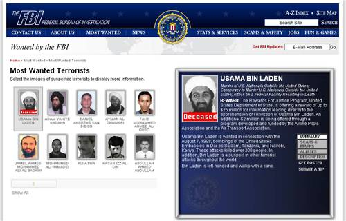 Photo: FBI Most Wanted Poster Bin Laden Deceased