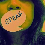 photo: woman with speech bubble