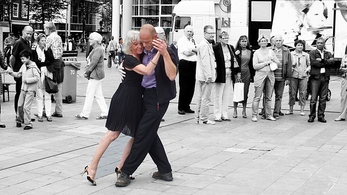 old woman tango dancing