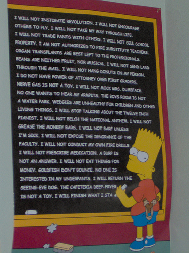 Bart Simpson at the board