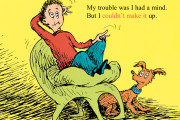 "Illustration: white boy on green chair, little brown dog sits next to him. Text reads: ""My trouble was I had a mind. But I couldn't make it up."""